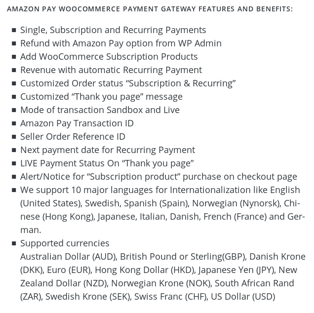 Amazon Pay WooCommerce payment gateway features and benefits